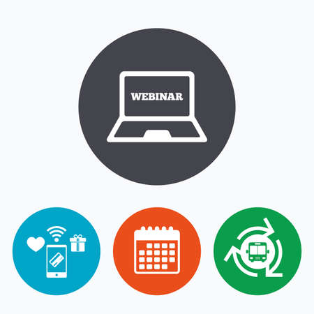mobile website: Webinar laptop sign icon. Notebook Web study symbol. Website e-learning navigation. Mobile payments, calendar and wifi icons. Bus shuttle.