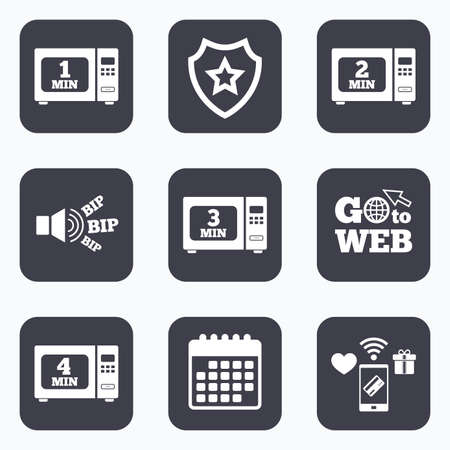 web 2: Mobile payments, wifi and calendar icons. Microwave oven icons. Cook in electric stove symbols. Heat 1, 2, 3 and 4 minutes signs. Go to web symbol. Illustration