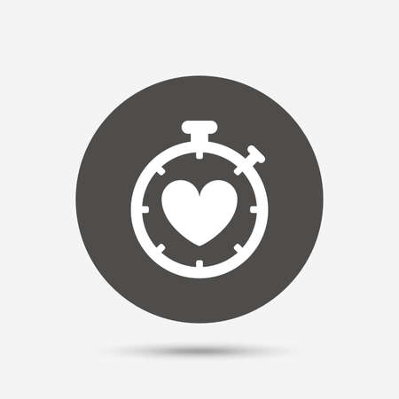 palpitation: Heart Timer sign icon. Stopwatch symbol. Heartbeat palpitation. Gray circle button with icon. Vector