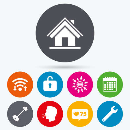 counter service: Wifi, like counter and calendar icons. Home key icon. Wrench service tool symbol. Locker sign. Main page web navigation. Human talk, go to web. Illustration