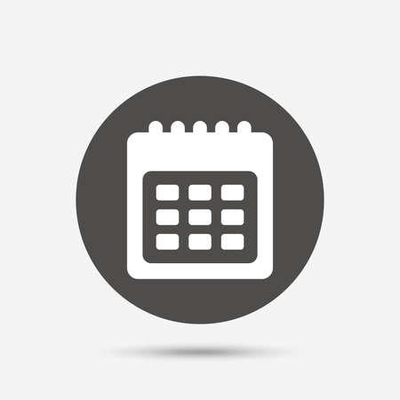 Kalender Zeichen-Symbol. Datum oder Terminerinnerung Symbol. Grauer Kreis-Schaltfläche mit Symbol. Vektor