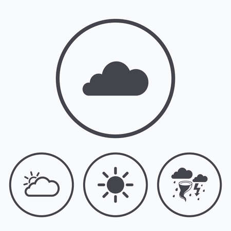 gale: Weather icons. Cloud and sun signs. Storm or thunderstorm with lightning symbol. Gale hurricane. Icons in circles. Illustration