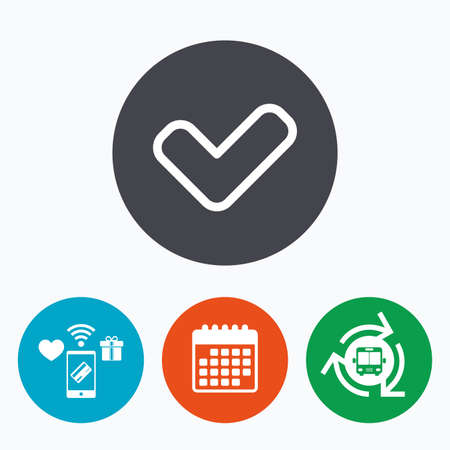 yes button: Check sign icon. Yes button. Mobile payments, calendar and wifi icons. Bus shuttle.