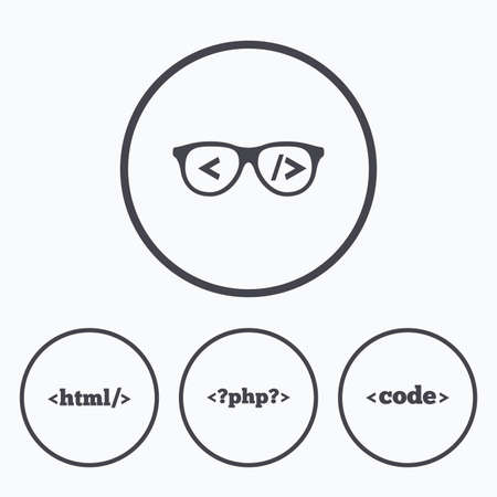 markup: Programmer coder glasses icon. HTML markup language and PHP programming language sign symbols. Icons in circles. Illustration