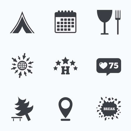 break down: Calendar, like counter and go to web icons. Food, hotel, camping tent and tree icons. Wineglass and fork. Break down tree. Road signs. Location pointer. Illustration