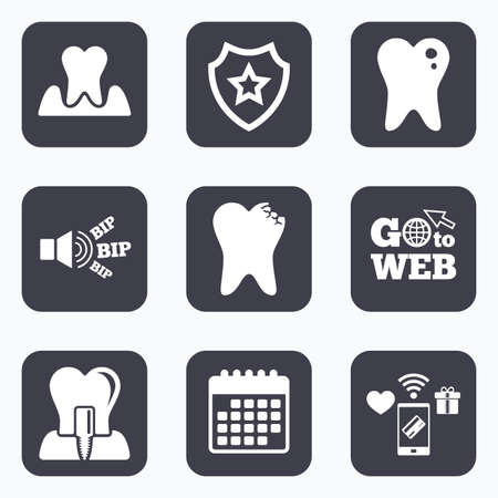 gingivitis: Mobile payments, wifi and calendar icons. Dental care icons. Caries tooth sign. Tooth endosseous implant symbol. Parodontosis gingivitis sign. Go to web symbol.