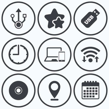 device disc: Clock, wifi and stars icons. Usb flash drive icons. Notebook or Laptop pc symbols. Smartphone device. CD or DVD sign. Compact disc. Calendar symbol.