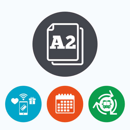 a2: Paper size A2 standard icon. File document symbol. Mobile payments, calendar and wifi icons. Bus shuttle.