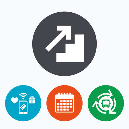upstairs: Upstairs icon. Up arrow sign. Mobile payments, calendar and wifi icons. Bus shuttle.