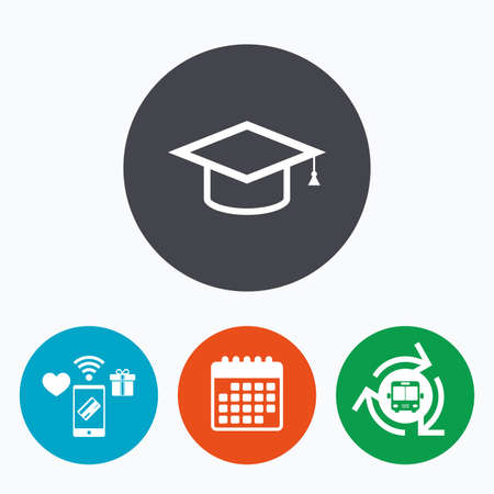 higher: Graduation cap sign icon. Higher education symbol. Mobile payments, calendar and wifi icons. Bus shuttle.