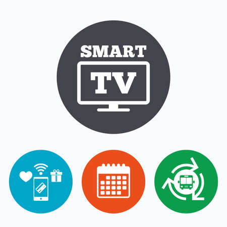 widescreen: Widescreen Smart TV sign icon. Television set symbol. Mobile payments, calendar and wifi icons. Bus shuttle.