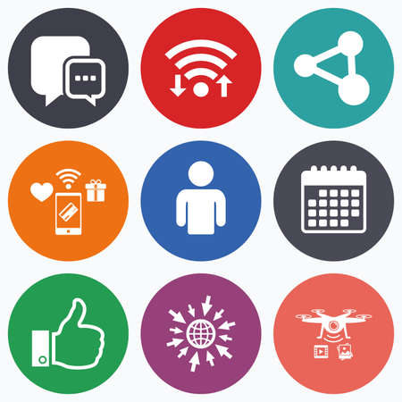 link up: Wifi, mobile payments and drones icons. Social media icons. Chat speech bubble and Share link symbols. Like thumb up finger sign. Human person profile. Calendar symbol. Illustration