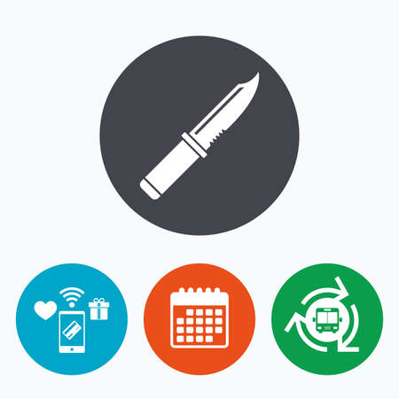 stab: Knife sign icon. Edged weapons symbol. Stab or cut. Hunting equipment. Mobile payments, calendar and wifi icons. Bus shuttle. Illustration