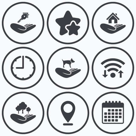 best shelter: Clock, wifi and stars icons. Helping hands icons. Shelter for dogs symbol. Home house or real estate and key signs. Save nature forest. Calendar symbol. Illustration