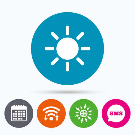 solarium: Wifi, Sms and calendar icons. Sun sign icon. Solarium symbol. Heat button. Go to web globe.