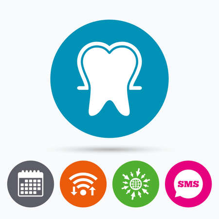 stomatologist: Wifi, Sms and calendar icons. Tooth enamel protection sign icon. Dental toothpaste care symbol. Healthy teeth. Go to web globe. Illustration