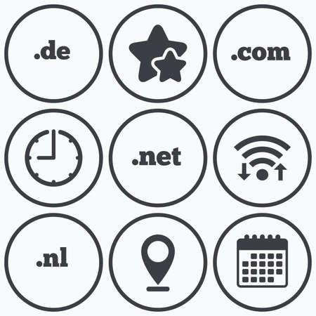 nl: Clock, wifi and stars icons. Top-level internet domain icons. De, Com, Net and Nl symbols. Unique national DNS names. Calendar symbol. Illustration