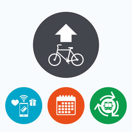 trail sign: Bicycle path trail sign icon. Cycle path. Up straight arrow symbol. Mobile payments, calendar and wifi icons. Bus shuttle.