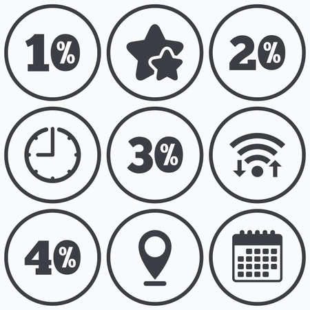 20 30: Clock, wifi and stars icons. Sale discount icons. Special offer price signs. 10, 20, 30 and 40 percent off reduction symbols. Calendar symbol. Illustration