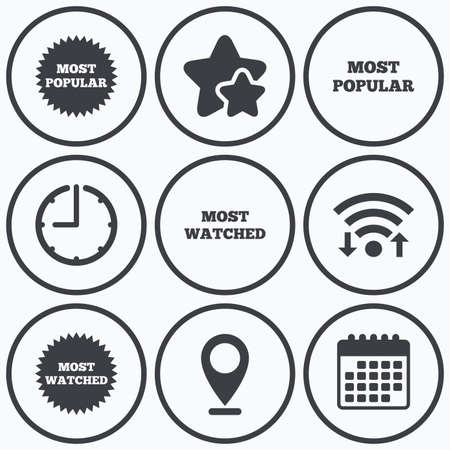 most popular: Clock, wifi and stars icons. Most popular star icon. Most watched symbols. Clients or users choice signs. Calendar symbol.
