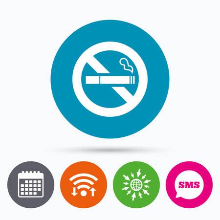 quit smoking: Wifi, Sms and calendar icons. No Smoking sign icon. Quit smoking. Cigarette symbol. Go to web globe.