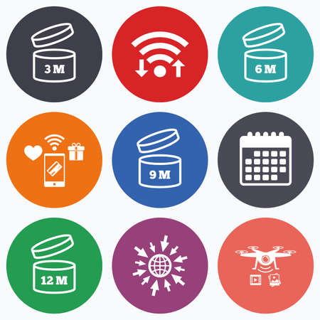 3 6 months: Wifi, mobile payments and drones icons. After opening use icons. Expiration date 6-12 months of product signs symbols. Shelf life of grocery item. Calendar symbol.