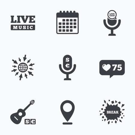 Calendario, como contador e ir a iconos de la web. Los elementos musicales iconos. Micrófono y música en vivo símbolos. música pagado y signos de la guitarra acústica. Ubicación del puntero.