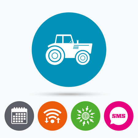 tractor sign: Wifi, Sms and calendar icons. Tractor sign icon. Agricultural industry symbol. Go to web globe.