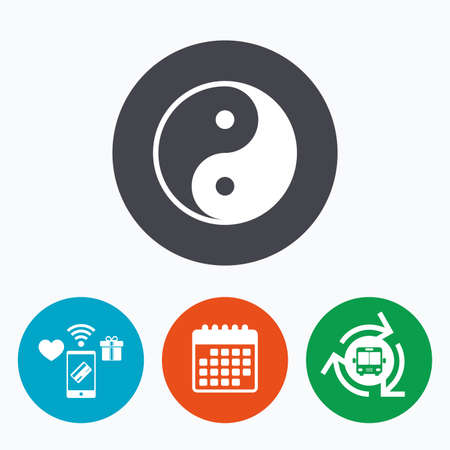 daoism: Ying yang sign icon. Harmony and balance symbol. Mobile payments, calendar and wifi icons. Bus shuttle. Illustration