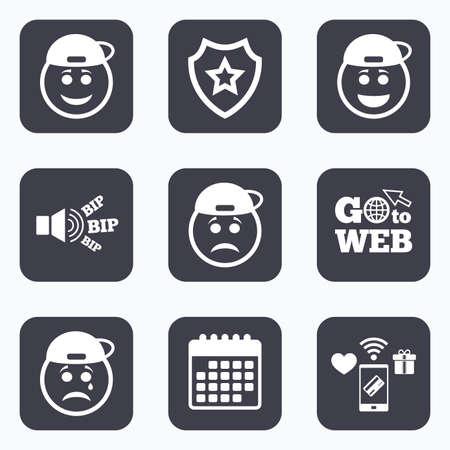 모바일 결제, 와이파이 및 캘린더 아이콘. 랩퍼 미소 얼굴 아이콘입니다. 행복, 슬픈, 울음 소리. 해피 스마일 채팅 기호입니다. 슬픔 우울증과 우는 징후. 웹 기호로 이동하십시오.