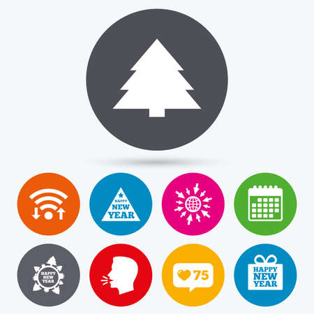new year counter: Wifi, like counter and calendar icons. Happy new year icon. Christmas trees signs. World globe symbol. Human talk, go to web.