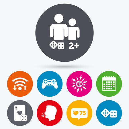 two friends talking: Wifi, like counter and calendar icons. Gamer icons. Board games players signs. Video game joystick symbol. Casino playing card. Human talk, go to web. Illustration