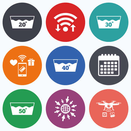 washhouse: Wifi, mobile payments and drones icons. Wash icons. Machine washable at 20, 30, 40 and 50 degrees symbols. Laundry washhouse signs. Calendar symbol. Illustration