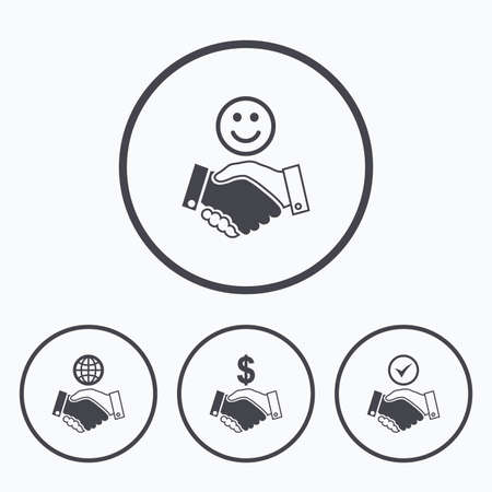 amicable: Handshake icons. World, Smile happy face and house building symbol. Dollar cash money. Amicable agreement. Icons in circles. Illustration