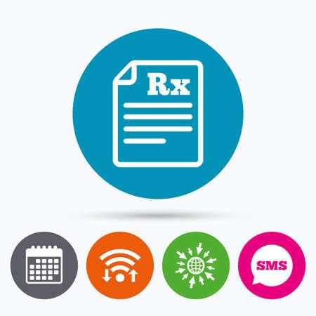 Wifi, Sms and calendar icons. Medical prescription Rx sign icon. Pharmacy or medicine symbol. Go to web globe. Vektorové ilustrace