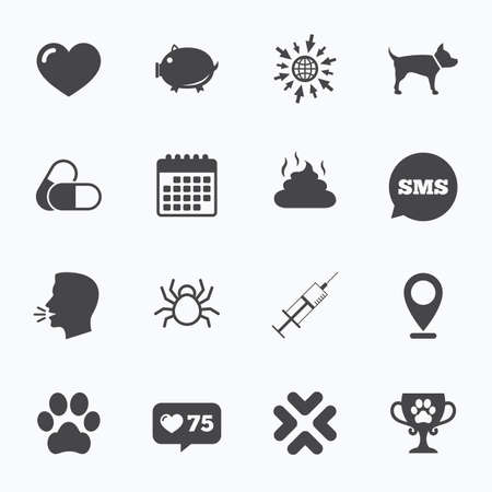 feces: Calendar, go to web and like counter. Veterinary, pets icons. Dog paw, syringe and winner cup signs. Pills, heart and feces symbols. Sms speech bubble, talk symbols. Illustration