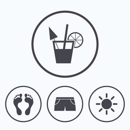 swimming trunks: Beach holidays icons. Cocktail, human footprints and swimming trunks signs. Summer sun symbol. Icons in circles.