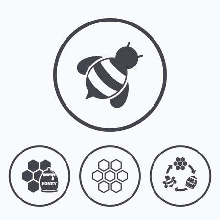 fructose: Honey icon. Honeycomb cells with bees symbol. Sweet natural food signs. Icons in circles.