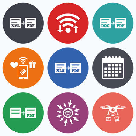 convert: Wifi, mobile payments and drones icons. Export file icons. Convert DOC to PDF, XML to PDF symbols. XLS to PDF with arrow sign. Calendar symbol. Illustration
