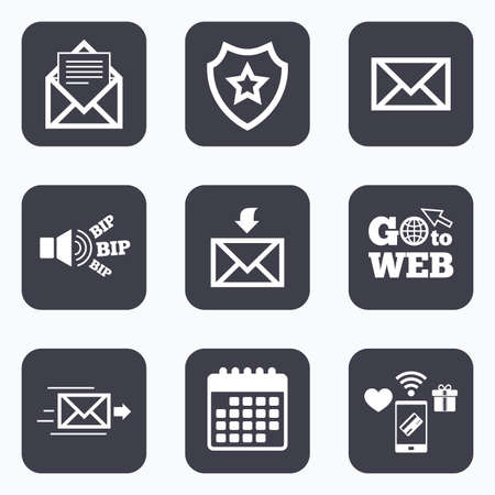 webmail: Mobile payments, wifi and calendar icons. Mail envelope icons. Message document delivery symbol. Post office letter signs. Inbox and outbox message icons. Go to web symbol.