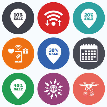 20 30: Wifi, mobile payments and drones icons. Sale pointer tag icons. Discount special offer symbols. 10%, 20%, 30% and 40% percent sale signs. Calendar symbol. Illustration