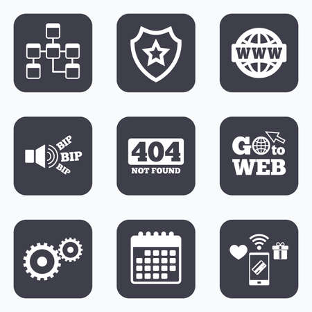 mobile website: Mobile payments, wifi and calendar icons. Website database icon. Internet globe and gear signs. 404 page not found symbol. Under construction. Go to web symbol.