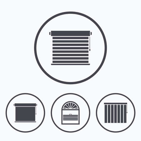 roll curtains: Louvers icons. Plisse, rolls, vertical and horizontal. Window blinds or jalousie symbols. Icons in circles.