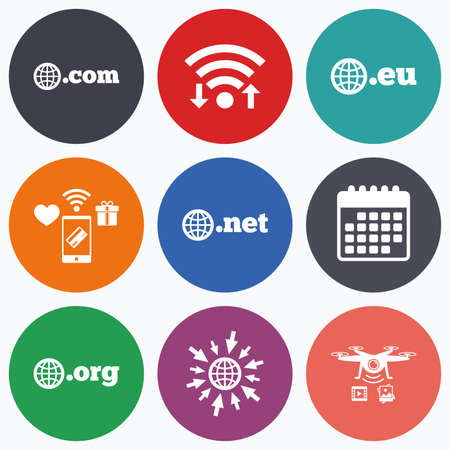 dns: Wifi, mobile payments and drones icons. Top-level internet domain icons. Com, Eu, Net and Org symbols with globe. Unique DNS names. Calendar symbol.