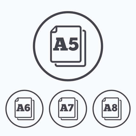 Paper size standard icons. Document symbols. A5, A6, A7 and A8 page signs. Icons in circles.