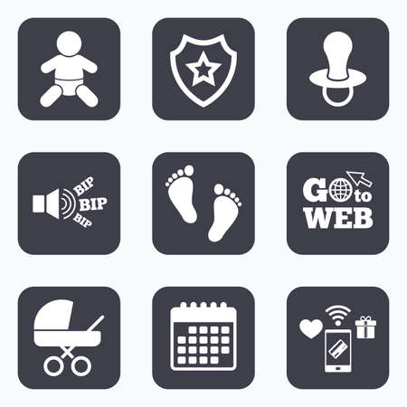 barefoot walking: Mobile payments, wifi and calendar icons. Baby infants icons. Toddler boy with diapers symbol. Buggy and dummy signs. Child pacifier and pram stroller. Child footprint step sign. Go to web symbol.