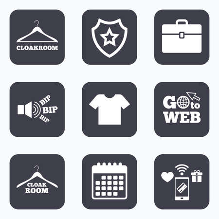 cloakroom: Mobile payments, wifi and calendar icons. Cloakroom icons. Hanger wardrobe signs. T-shirt clothes and baggage symbols. Go to web symbol.