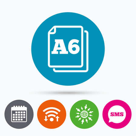 a6: Wifi, Sms and calendar icons. Paper size A6 standard icon. File document symbol. Go to web globe. Illustration