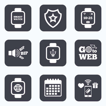 www arm: Mobile payments, wifi and calendar icons. Smart watch icons. Wrist digital time watch symbols. USB data, Globe internet and wi-fi signs. Go to web symbol.