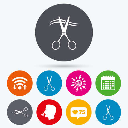 hair cut: Wifi, like counter and calendar icons. Scissors icons. Hairdresser or barbershop symbol. Scissors cut hair. Cut dash dotted line. Tailor symbol. Human talk, go to web. Illustration